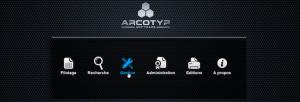 Menu d'accueil du logiciel d'archivage mixte ARCOTYP Software