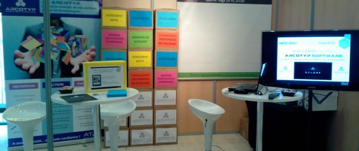Stand AT2O sur le Forum des archivistes 2016 (organisé par l'Association des Archivistes Français) dans le cadre de la promotion de l'offre ARCOTYP. Modifier l'extrait